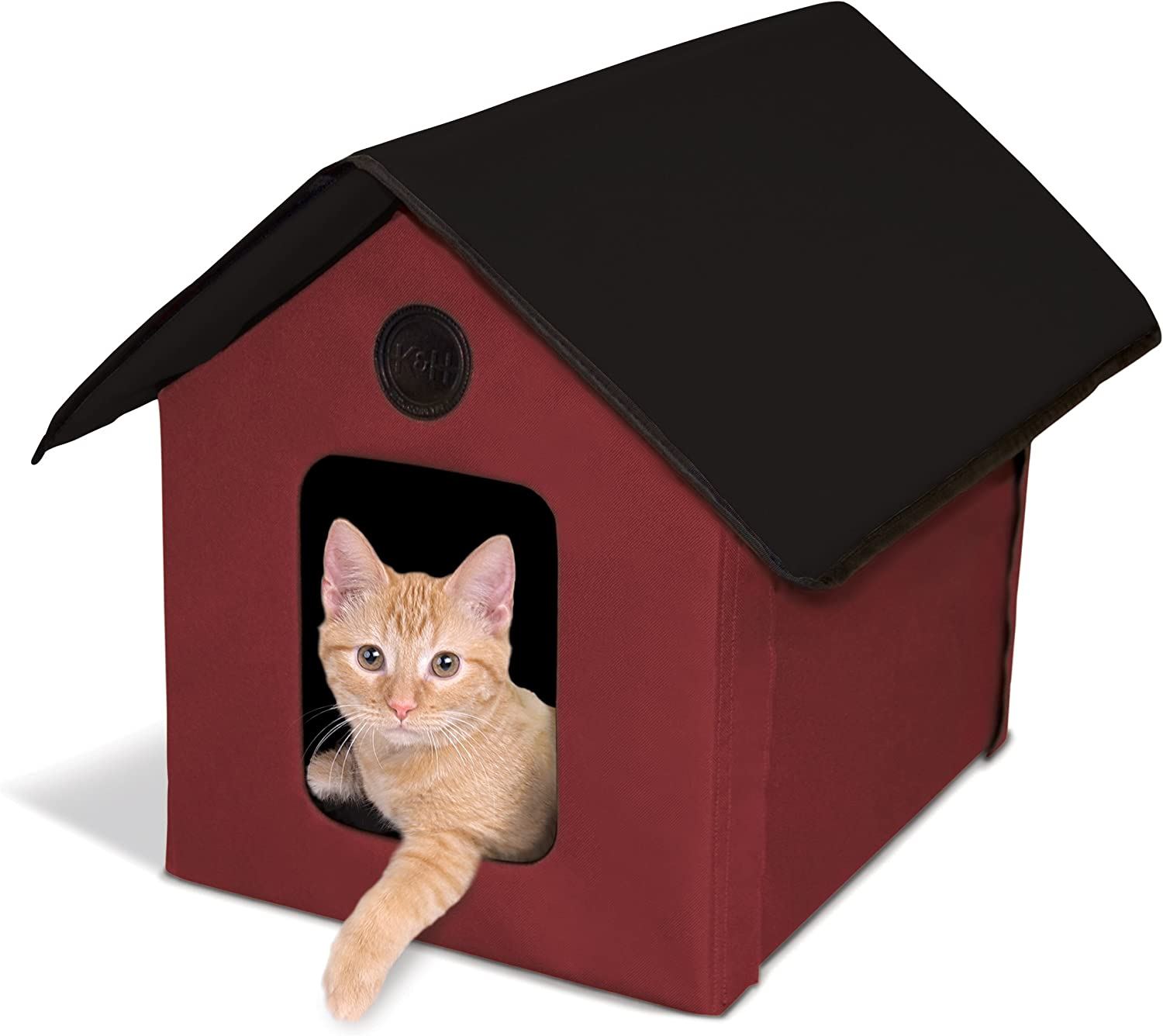 K&H Manufacturing Outdoor Kitty House (Unheated) Barn Red Black 18Inch X 22Inch X 17Inch