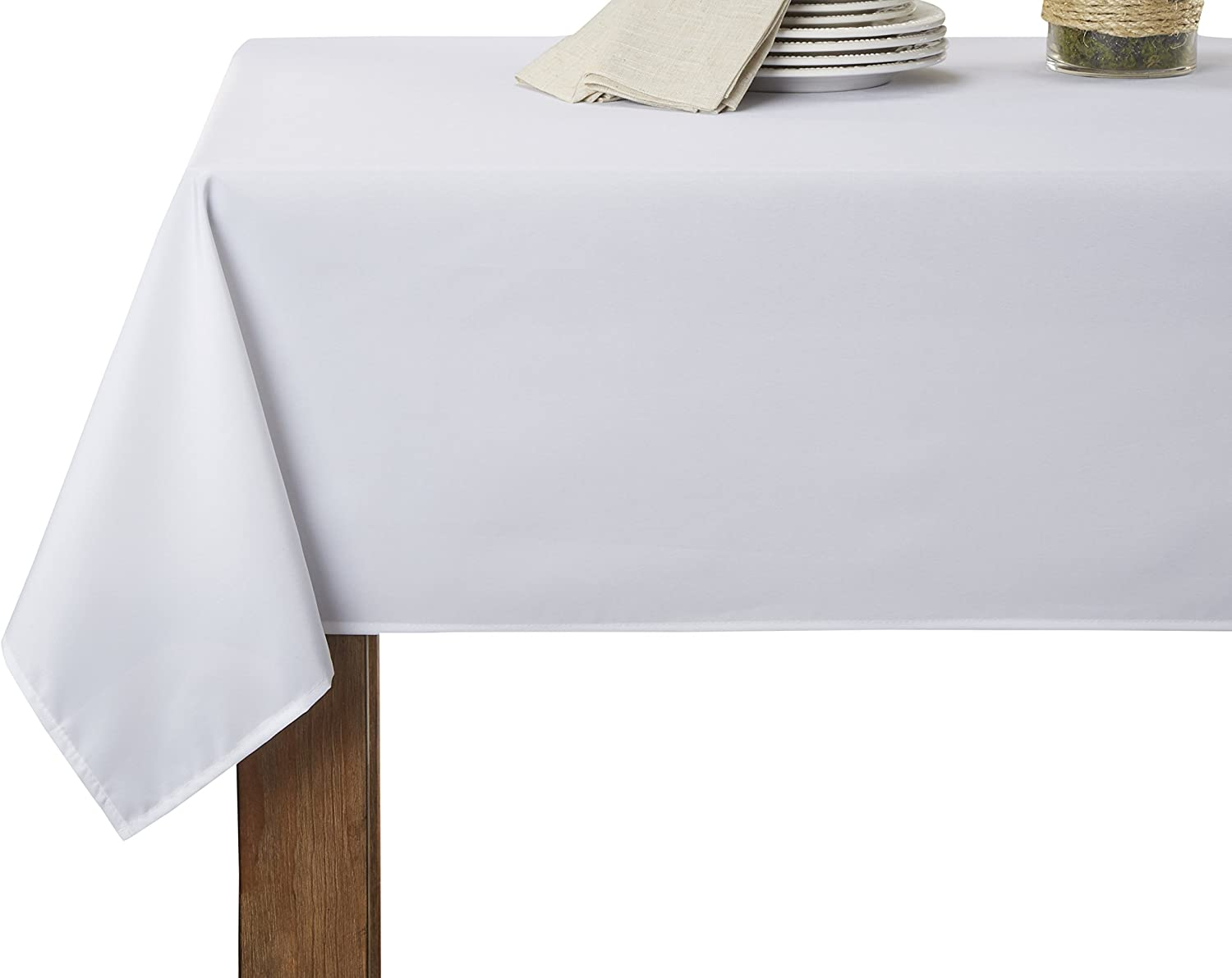 purple Linen Solid Liner Oblong Rectangle Tablecloth, 60  x 198 , White