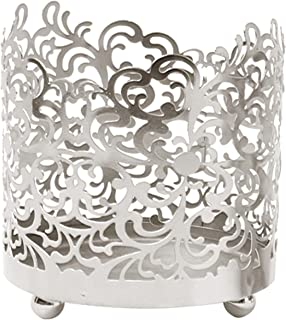 Hosley 4.5 Inch High Silver Finish Lace Jar Candle Sleeve LED Tealight Lantern Ideal Gift for Weddings Spa Aromatherapy Home Votive Candle Garden O9
