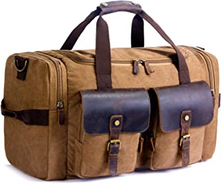 2020 Upgrade Canvas Holdall Weekend Bag SUVOM Travel Bag Mens Leather Carry On Luggage Overnight Duffle Bag with Shoe Pouch