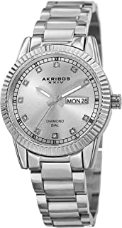 Akribos XXIV Sparkling Crystals Women's Watch - Grooved Sparkling Bezel - Diamond Hour Markers - Date Display On a Stainle...