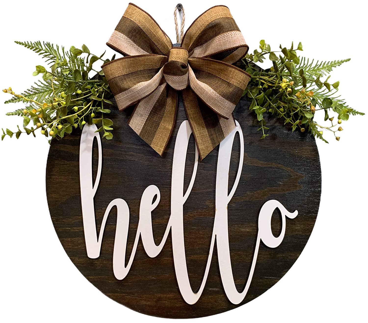 HELLO Wreath for Front Door Year Plaid with Round Los Angeles Mall Ribbon Minneapolis Mall Hanger