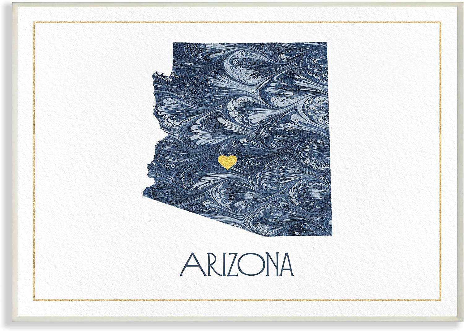 The Stupell Home Decor Arizona Minimal bluee Marbled Paper Silhouette Wall Plaque Art, 13 X 19, Multi-color