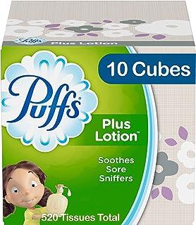 Puffs Plus Lotion Facial Tissues, 10 Cubes, 52 Tissues Per Box
