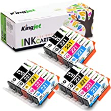 Kingjet Compatible Ink Cartridge Replacement for Canon PGI-220 CLI-221 Work with PIXMA IP3600 IP4600 IP4700 MX860 MX870 MP...