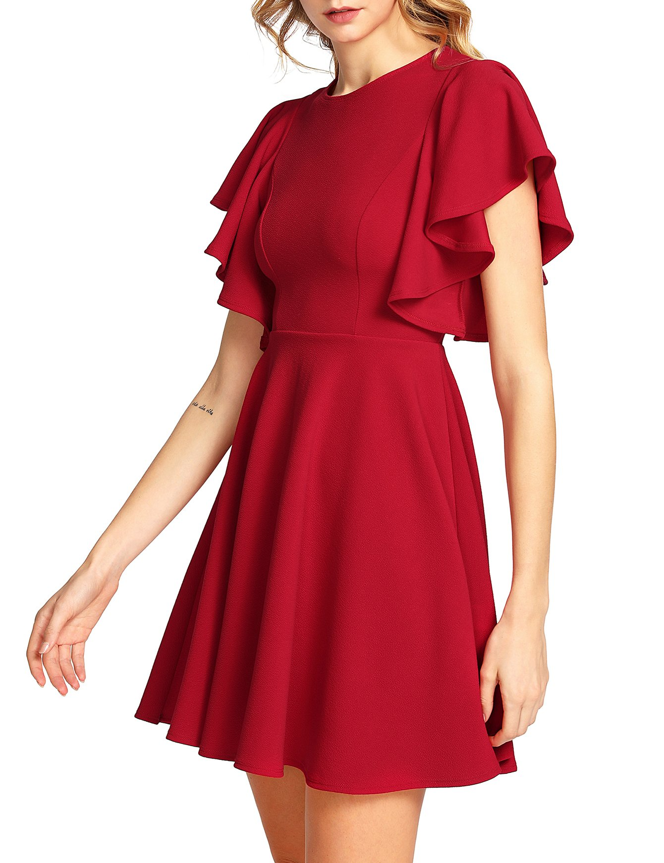 Red Dress - Club Dress For Women Sexy Ruched Bodycon Asymmetrical V Neck Midi Dresses