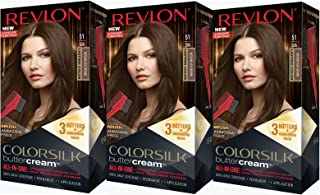 Revlon Colorsilk Buttercream Hair Dye, Medium Ash Brown, 3 Count