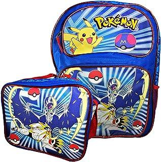 Blue Pokemon Backpack, Lunch Box Travel Bag Printed Pokemon Pikachu Bag (Backpack & Lunch Box)