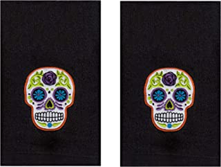 Day of The Dead Hand Towel Black 2 Pack for Kitchen or Bathroom, 16 x 28 Inches, Embroidered Sugar Skull Thick Soft Plush Towels for Halloween or Everyday Use