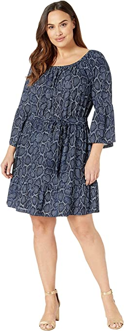Plus Size Snake Square Wide Sleeve Dress