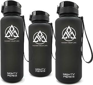 MIGHTY PEAKS Leak-Proof BPA free water bottle-s | Tritan Water Bottles 32 oz | One Click Open,Eco-Friendly | Black | Gym W...