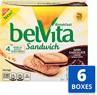belVita Dark Chocolate Creme Sandwich Breakfast Biscuits, 5Count Box, 8.8 oz (Pack of 6)