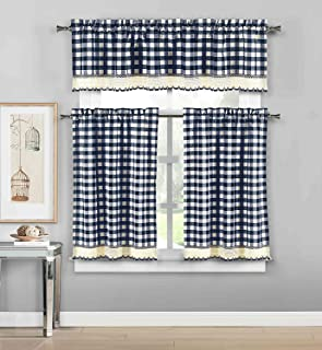 Bathroom and More with Crochet Accent (Navy) 3 Piece Plaid, Checkered, Gingham Kitchen Curtain Set: 35% Cotton, 1 Valance, 2 Tier Panels, 58Wx15L, 29Wx36L