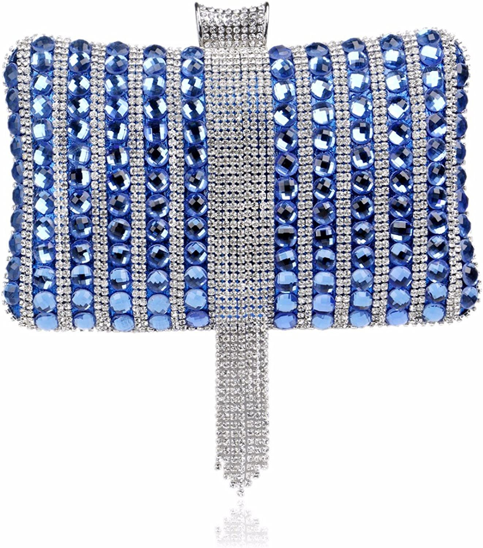 XJTNLB European and American Diamond Dinner Bag Lady Party Bag Evening Dress Handbag,bluee