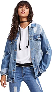 Women's Ripped Distressed Casual Long Sleeve Denim Jacket