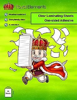 "Royal Elements Waterproof Clear Vinyl Laminating Sheets 9"" x 12"" - 20 UV Resistant Sheets"