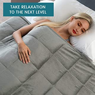 Weighted Blanket, Flannel & 100% Cotton Reversible with Glass Beads for Adult, Youths and Kids, Premium Heavy Blanket with Stitched Edges, Enjoy Natural Deep Sleeping (Grey, Queen 15lb 60x80'')