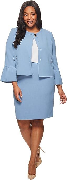 Crepe Skirt Suit w/ Tulip Sleeve
