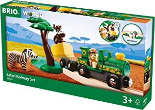 BRIO World - 33720 Safari Railway Set   17 Piece Train Toy with Accessories and Wooden Tracks for Kids Ages 3 and Up