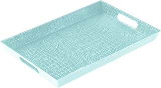 Uniware Leather Design Plastic Serving Tray for Indoor/Outdoor - 15 x 9.8 x 1.5-Inches (Teal)