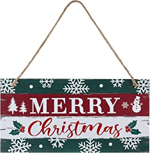 Christmas Sign Rustic Merry Christmas Hanging Sign Farmhouse Outdoor Wooden Christmas Decoration Xmas Holiday Decor with Hanging Rope for Christmas Home Window Wall Farmhouse Indoor Decoration
