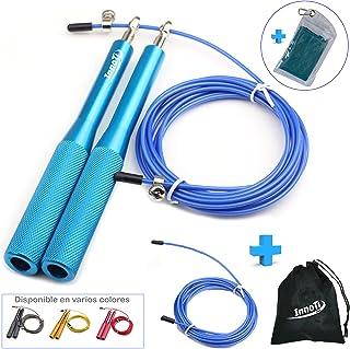 InnoTi Comba Crossfit Hombre y Mujer - Cuerda de Saltar de Alta Velocidad para Boxeo y Fitness - Comba de Aluminio Ligera para Saltos Dobles - Ajustable y con Cable Extra de Repuesto