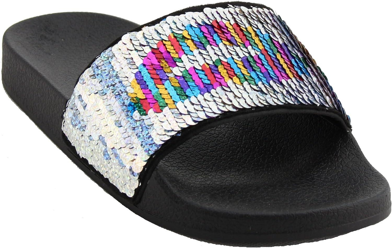Nature Breeze Womens Open Toe Slide Flip Flops Flat Sandal Slippers