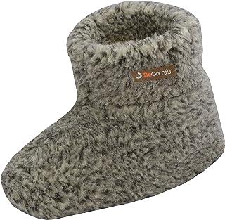 BeComfy Donne Uomo Pantofole Unisex Isolate Scarpe di Lana Wool Caldo Inverno Cremoso 36-46