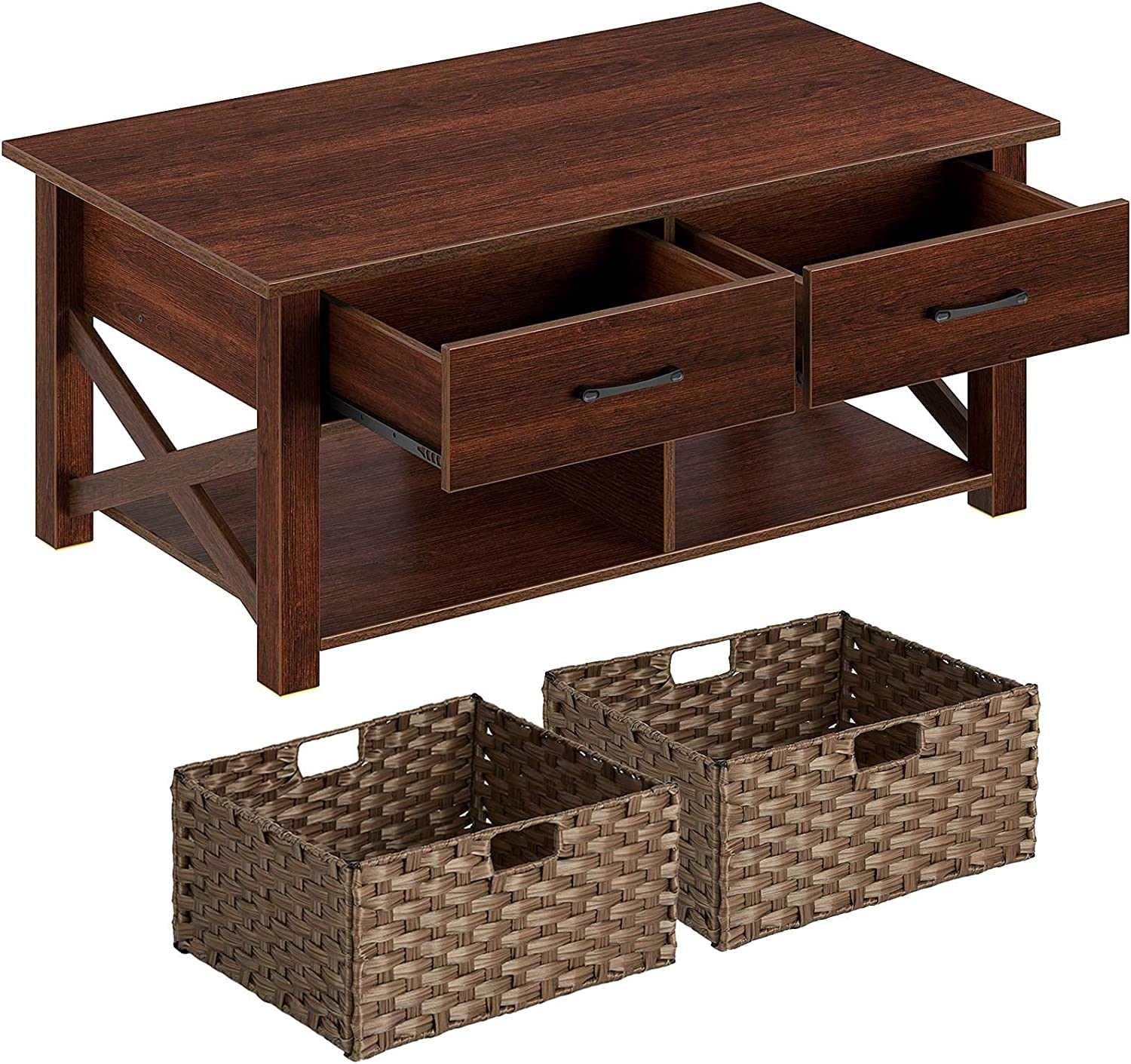 Ranking TOP1 Rolanstar Coffee Table with 2 Storage Max 70% OFF Baske and Rattan Drawers