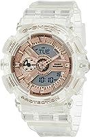 ساعة انالوج بعقارب ورقمية بسوار راتنج للنساء جي شوك من كاسيو GMA-S110SR-7ADR - شفاف وروز جولد