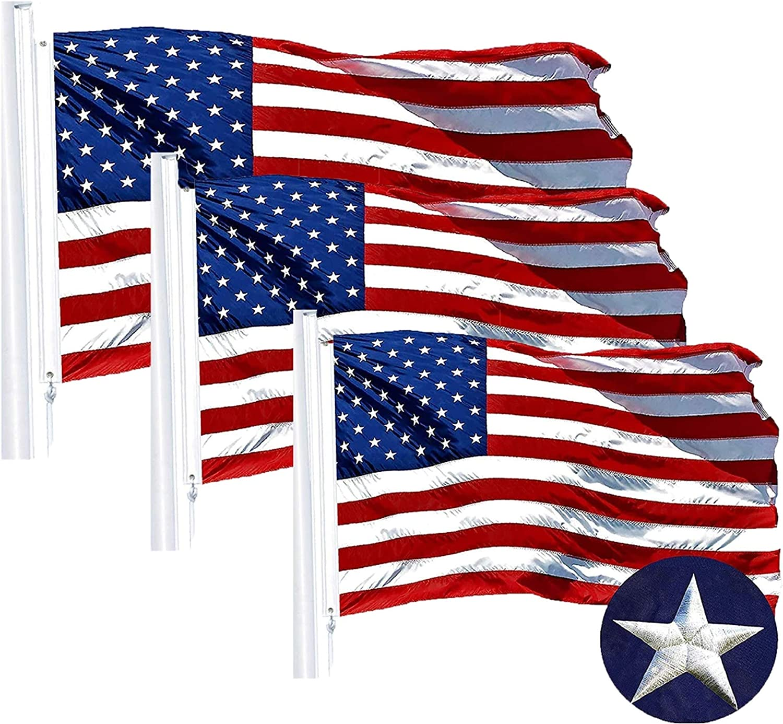 G128 - American USA US Flag Sewn Stripe 商舗 Embroidered Ft メーカー直売 3x5 Stars