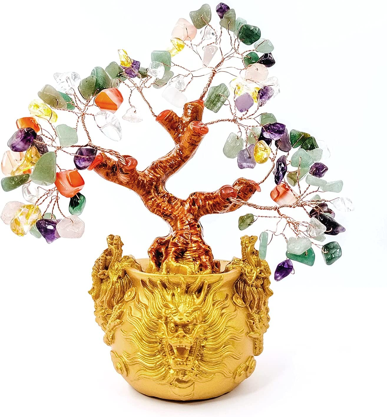 XIEHE-SHOP Crystal Fortune Tree,Gold Money Tree Feng Shui Ornament for Bringing Wealth,Luck,Prosperity,Success,Crystal Money Tree Feng Shui Bonsai Decoration for Home,Office (7 Colour)