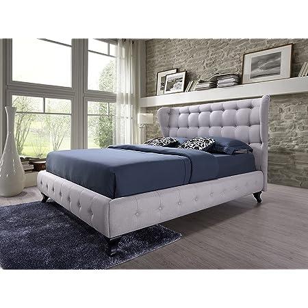 Abella Lit capitonné en tissu beige clair 140 x 200 cm + tête de lit rembourrée / lit avec support de matelas en bois / montage facile
