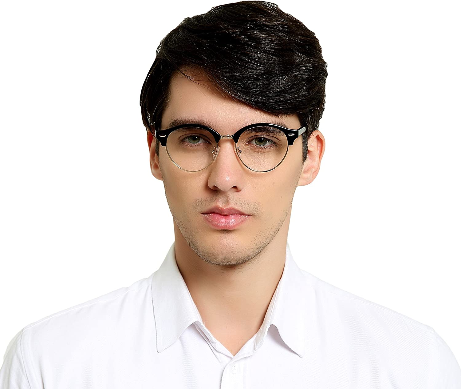Clear Lens Half Frame Horn Rimmed Club Round Optical Glasses Frame Anti bluee light Computer Glasses TR90 T2116