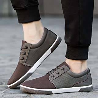 Flat Shoes Mens,Hemlock Men's Casual Shoes Sport Shoes Men Lace Up Loafers Moccasins Male Shoes (US:8.5, Brown)