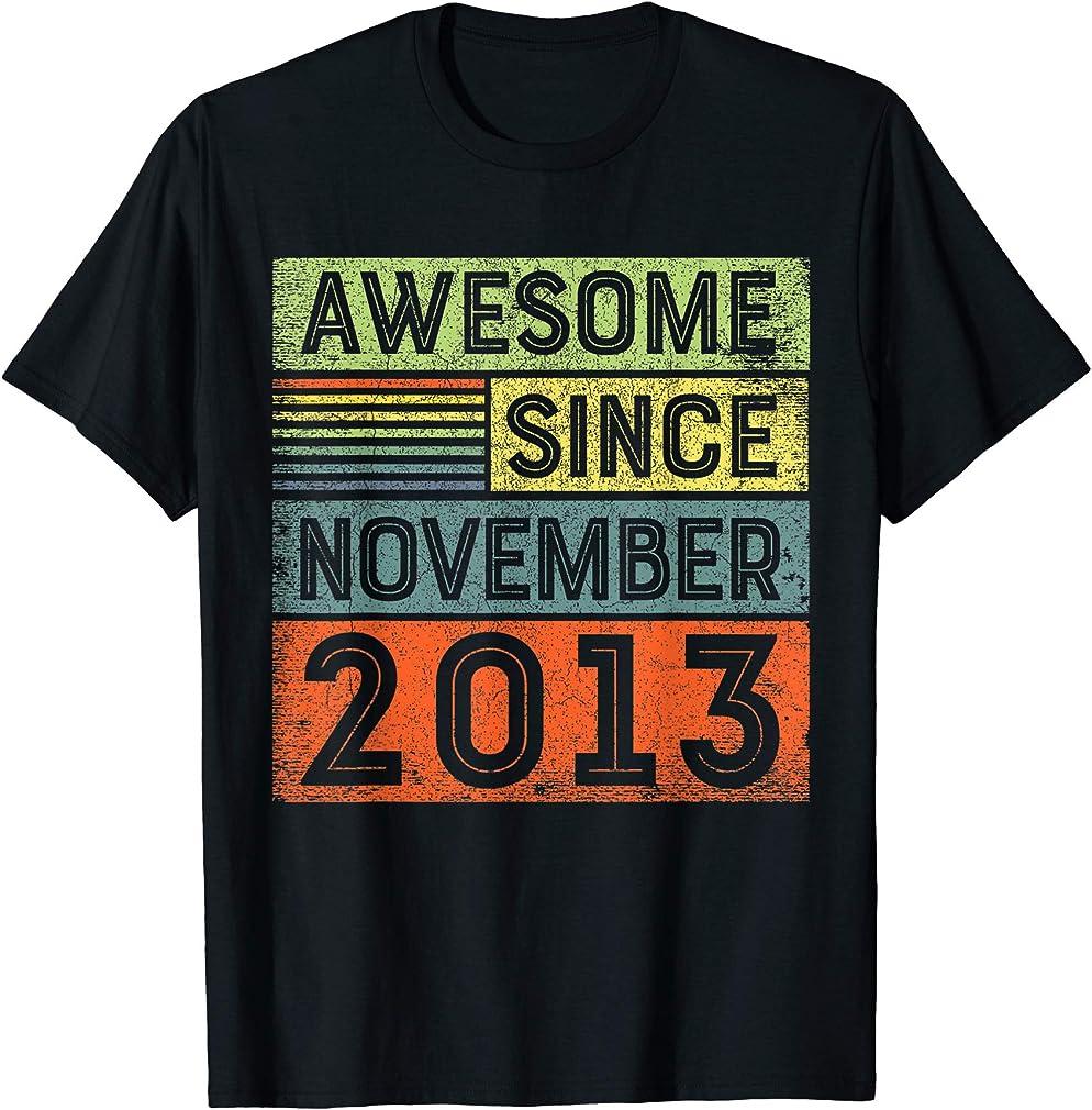 Awesome Since November 2013 6th Birthday Shirt Boy T-shirt