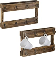 J JACKCUBE DESIGN MK519A Rustic Wooden Mug Rack 16 Hooks Coffee Cup Collection Holder//Wall Mount Shelf//Display Storage for Kitchen Counter Organizer Hanger