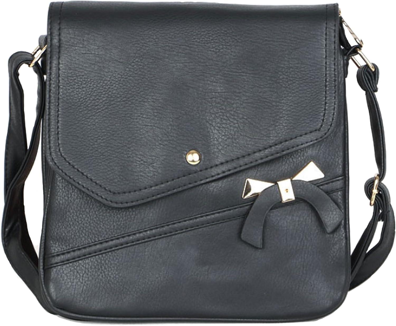 Blazing Autumn Front Flap Shoulder Bag With Decorative gold Bow