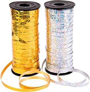 Sunmns 2 Roll Crimped Curling Ribbon Balloon Band Tie for Parties, Festival, Florist, Crafts and Gift Wrapping, 5 mm, 200 ...