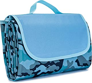 Regalico Waterproof Picnic Blanket, Sand Proof Beach Mat with Handle, Extra Large 80'' x 60'' for Six Adults Camping Blanket, Ideal for Picnic/Travel/Camping/Hiking (Blue)