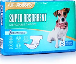 All-Absorb Disposable Female Dog Diapers, 50 Count
