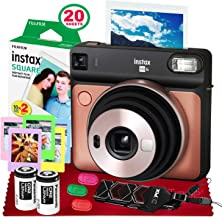 Fujifilm instax Square SQ6 Instant Film Camera (Blush Gold) + 20 Sheets Instant Square Film + Xpix Camera Strap + Fibertique Cloth (USA Warrantty)