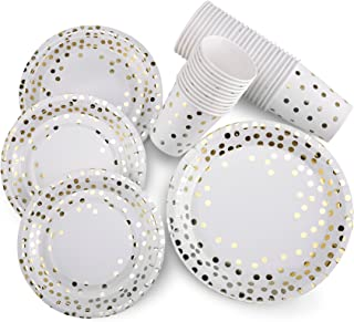 150 pcs Gold Dot Paper Plates and Cups Set; 50 Gold Metallic Foil 9'' Dinner Plates/ 7'' Dessert Plates /9 oz Cups. Perfect for New Years Christmas Bridal/Baby Shower Wedding Engagement Birthday