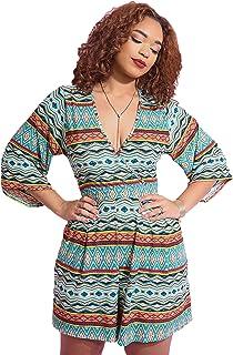 61bb05d4ae4 Women s Casual ¾ Kimono Sleeve Plunge Neck Wide Leg Short Romper Plus Sizes