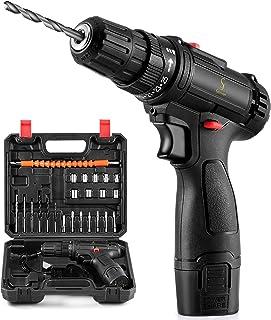"Cordless Drill Driver, 26PCS Combi Drill Set with Built-in LED, 12V Electric Screwdriver, 3/8"" Keyless Chuck, 1500mAh Batt..."