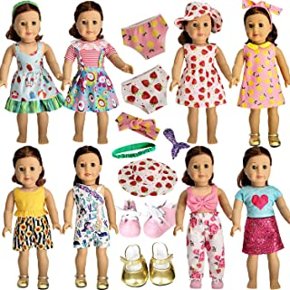 HOAKWA 18 Inch Doll Clothes and Accessories for American 18 Inch Girl Doll, Our Generation Doll Clothes Dress, Total 19 Pcs Including 8 Set of Clothing Outfits with Shoes, Underwear, Headband, and Cap