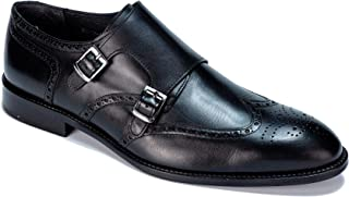 Jack Martin - Handmade - Black Genuine European Leather Double Monk Strap Shoes
