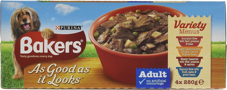 Bakers As Good As It Looks Dog Food, Variety Menus, 4 x 280 g