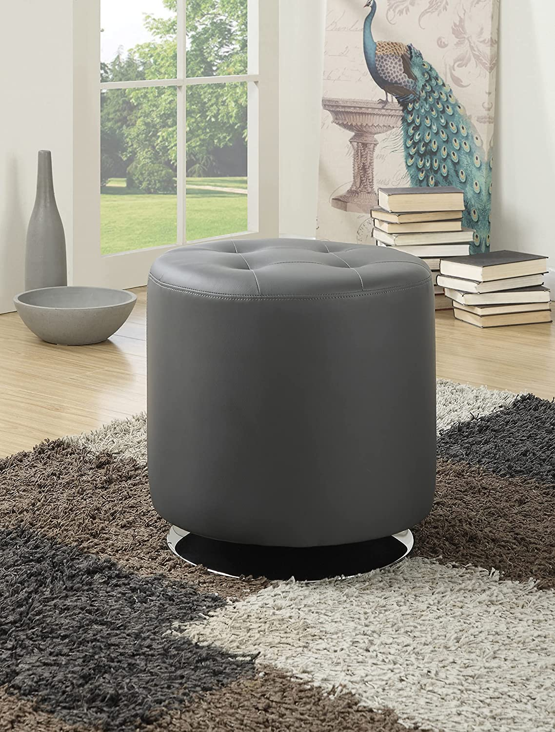 Coaster Home Furnishings Round OFFicial site Popular Grey Upholstered Ottoman