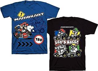 Nintendo Mario Kart Boys 2 Pack Short Sleeve Tee Shirt Pack (4, Blue)